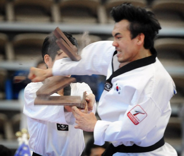 A member of Korean's Kukkiwon Taekwondo Demonstration team breaks terra cotta plates. Over 500 competed in the First Maryland Governor's Cup Taekwondo Championship hosted by the Maryland State Taekwondo Association at the APGFCU Arena Harford Community College. Competitors, ages from 3 to over 60 and from as far as Maine, competed in forms, board breaking and sparring in a full day of contests. All proceeds from the championship will be donated to the Children's Cancer Foundation (CCF). (Kenneth K. Lam/The Baltimore Sun)