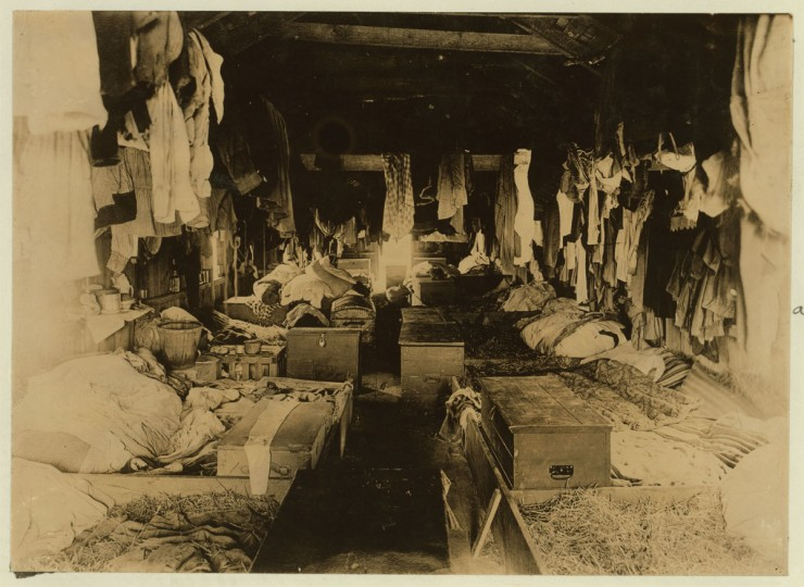 Interior of a shack occupied by berry pickers. Anne Arundel County., Maryland. Courtesy of Maryland Child Labor Committee. Location: Anne Arundel County, Maryland. Circa 1909. (Lewis Hine/Photo courtesy LOC)