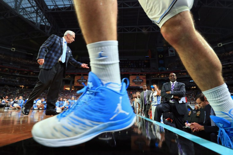 Head coach Roy Williams of the North Carolina Tar Heels reacts as Luke Maye #32 comes off the bench in the first half against the Gonzaga Bulldogs during the 2017 NCAA Men's Final Four National Championship game at University of Phoenix Stadium on April 3, 2017 in Glendale, Arizona. (Photo by Ronald Martinez/Getty Images)