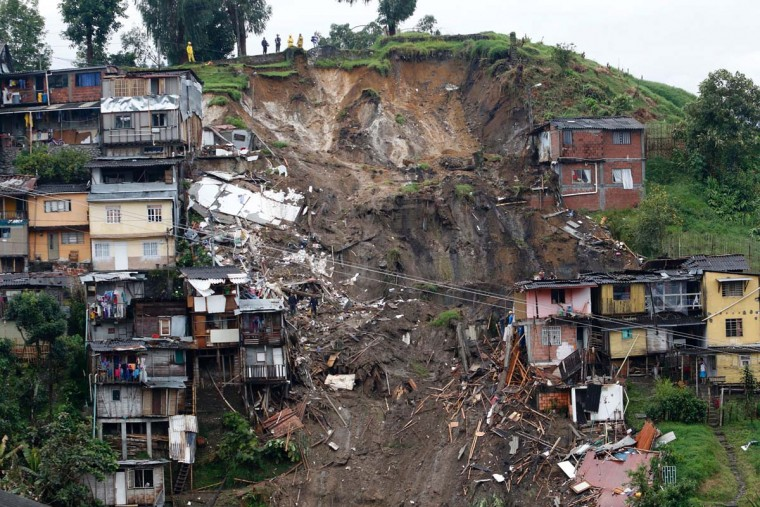 General view after mudslides in Manizales, Caldas department, Colombia on April 19, 2017. Flooding and mudslides in central Colombia have killed at least eleven people, the Red Cross said Wednesday, causing alarm in a country still recovering from mudslides that killed hundreds. (Getty Images)