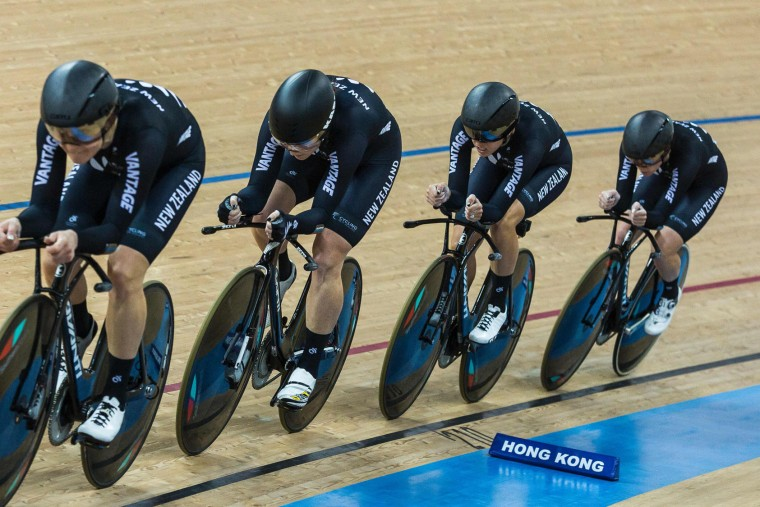 The New Zealand team compete in the Women's Team Pursuit Final at the Hong Kong Velodrome during the 2017 Track Cycling World Championships in Hong Kong on April 13, 2017. (Isaac Lawrence/AFP/Getty Images)
