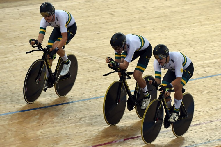 Australia's cyclists celebrate winning the Men's Team Pursuit final at the 2017 Track Cycling World Championships in Hong Kong on April 13, 2017. (Anthony Wallace/AFP/Getty Images)