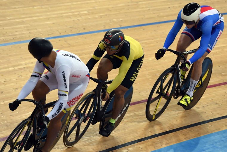 Mohd Azizulhasni Awang of Malaysia (C) competes in the finals of the Men's Keiren event at the 2017 Track Cycling World Championships in Hong Kong on April 13, 2017. (Anthony Wallace/AFP/Getty Images)