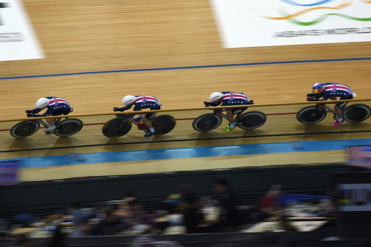 Members of the US team compete during the final of the women's team pursuit event at the Hong Kong Velodrome during the Track Cycling World Championships in Hong Kong on April 13, 2017. (Anthony Wallace/AFP/Getty Images)