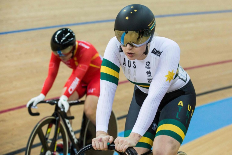 Stephanie McCulloch of Australia (R) wins against Lin Junhong of China during the women's sprint 1/8 final heats at the Hong Kong Velodrome during the Track Cycling World Championships in Hong Kong on April 13, 2017. (Isaac Lawrence/AFP/Getty Images)