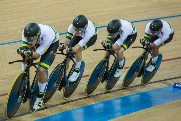 Members of the Australian cycling team compete in the Men's Team Pursuit final at the Hong Kong Velodrome during the 2017 Track Cycling World Championships in Hong Kong on April 13, 2017. (Isaac Lawrence/AFP/Getty Images)