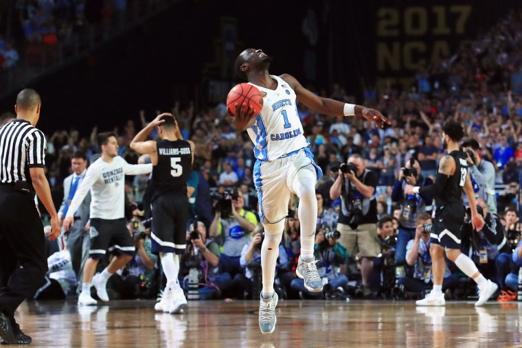 Theo Pinson #1 of the North Carolina Tar Heels celebrates after defeating the Gonzaga Bulldogs during the 2017 NCAA Men's Final Four National Championship game at University of Phoenix Stadium on April 3, 2017 in Glendale, Arizona. The Tar Heels defeated the Bulldogs 71-65. (Photo by Tom Pennington/Getty Images)
