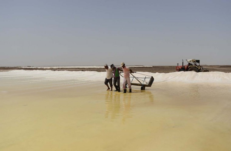 This picture taken on April 7, 2017 shows Indian salt pan workers in the Little Rann of Kutch (LRK) region of Gujarat some 180km west of Ahmedabad. Indian salt pan workers of the Agariya community in Gujarat work in the remote and arid Little Rann of Kutch (LRK) region for nearly eight months of the year during the salt farming season. India is ranked third in gross amount of salt produced in the world, behind China and the United States, and the western state of Gujarat accounts for 77 percent of India's production. (SAM PANTHAKY/AFP/Getty Images)