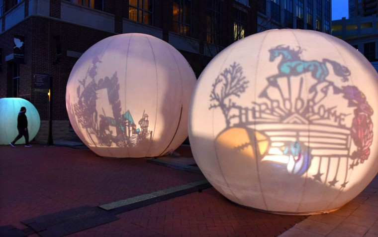MoonGARDEN by Lucion features a series of inflated vinyl bubbles that incorporate shadow theater. (Jerry Jackson, Baltimore Sun)