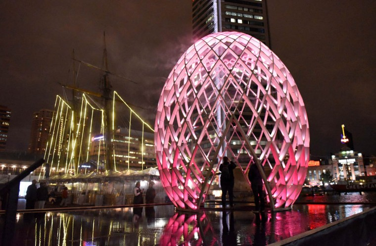 Visitors to the Inner Harbor got a sneak peek at some of the Light City installations Thursday night including OVO by OVO Collective. Light City officially opens Friday night. (Jerry Jackson, Baltimore Sun)