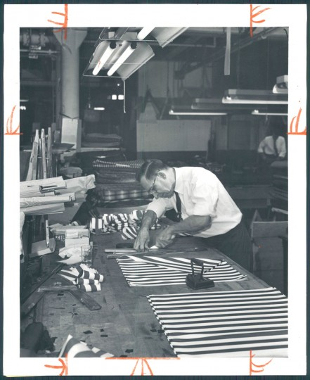 Manufacturing umbrellas at Polan Katz & Co., December 13, 1953. (Baltimore Sun)
