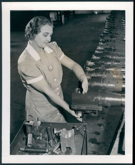 Woman manufacturing weapons at Aberdeen Proving Grounds, photo dated 1943. (Bodine/Baltimore Sun)