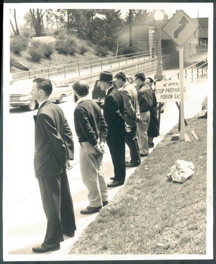 Activists protesting chemical weapons testing near Edgewood Arsenal, photo dated April 9, 1960. (Baltimore Sun)