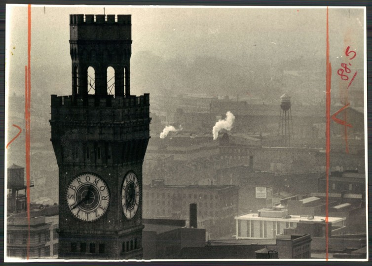 Even the Bromo Seltzer tower downtown has a sickly look in the murky air over Baltimore. Photo dated January 19, 1973. (Baltimore Sun archives)