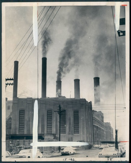 "SMOKE GETS IN YOUR EYES--""Electric power generation and automobiles account for 83 per cent of the air pollution in the United States,"" according to a congressional report. One of those electric power generation plants is shown above. It is the Consolidated Gas and Electric plant at Westport, in South Baltimore. Photo dated December 12, 1966. (Baltimore Sun)"