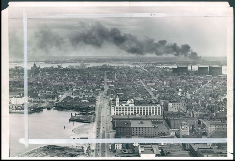 Smoke emerges from smokestack in Baltimore, photo dated May 28, 1951. (Albert D. Cochran/Baltimore Sun)
