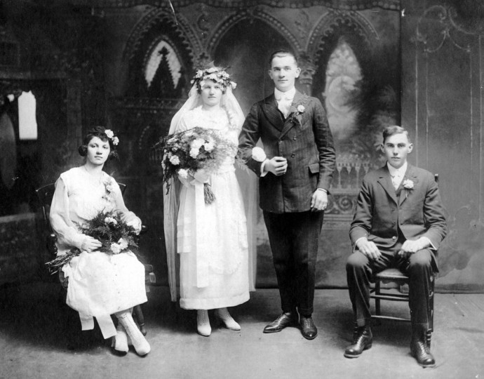 Wedding of Elizabeth Zimmerer and Michael Kahl, January 14, 1920, at St. Josephs in Fullerton, Md. From left to right, Marty Zimmerer (twin sister, maid of honor), Elizabeth Zimmerer Kahl, Michael Kahl, and John Tremper. Gift of Charles Rutkowski. (Photo from the Baltimore Historical Society via Enoch Pratt Library)