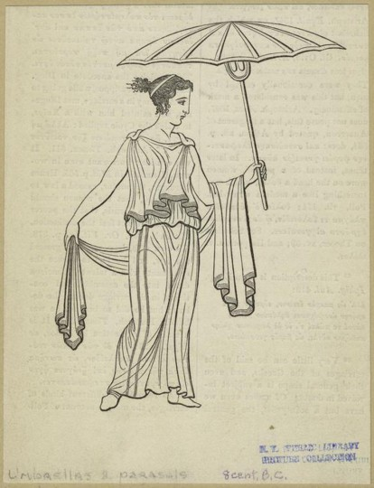In ancient Greece, Persia, India, Egypt and Iraq, elite carried parasols to protect them from the sun -- or better yet, they had servants carry them for them. It was a total status symbol. (Image courtesy NYPL Digital)
