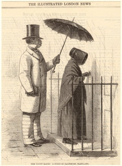 This illustration depicts a well-dressed slave holding an umbrella for a well-to-do woman in Baltimore in 1861. (Image Courtesy NYPL Digital Collections)