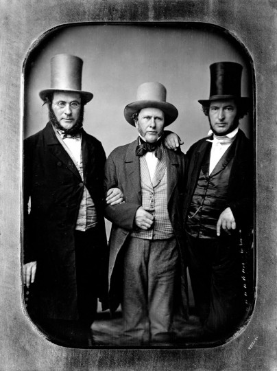 Arunah S. Abell, founder of The Sun, and his partners Azariah H. Simmons, left, and William M. Swain, right. This was taken in 1836 when they established the Philadelphia Public Ledger. (File photo)