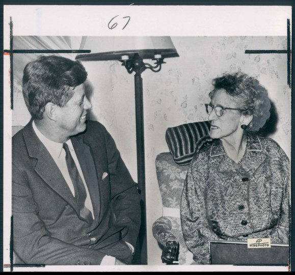 November 5, 1962: President Kennedy visits his 97-year-old grandmother, Mrs. John F. Fitzgerald. (Baltimore Sun Archives)
