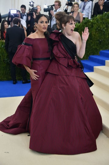 """NEW YORK, NY - MAY 01: Jenni Konner and Lena Dunham attend the """"Rei Kawakubo/Comme des Garcons: Art Of The In-Between"""" Costume Institute Gala at Metropolitan Museum of Art on May 1, 2017 in New York City. (Photo by Theo Wargo/Getty Images For US Weekly)"""
