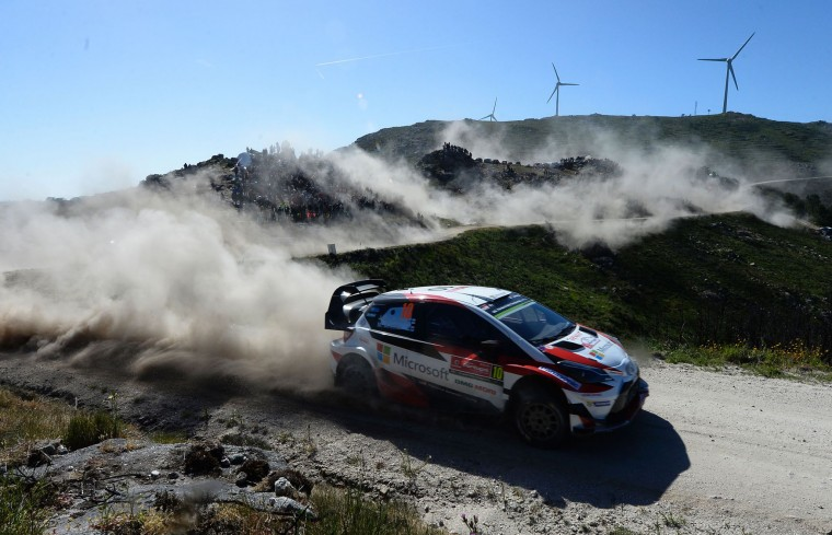Finnish driver and co-driver, Jari Matti Latvala and Miikka Anttila, steer their Toyota Yaris WRC in Caminha, northern Portugal, on May 19, 2017, during the first stage on the second day of the Portugal WRC rally. (Miguel Riopa/AFP/Getty Images)