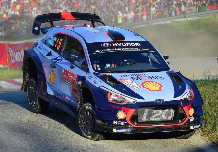 Belgian driver and co-driver Thierry Neuville and Nicolas Gilsoul, steer their Hyundai i20 Coupe WRC in Lousada, on May 18, 2017, during the Super Special opening stage of the Portuguese WRC rally. (Miguel Riopa/AFP/Getty Images)