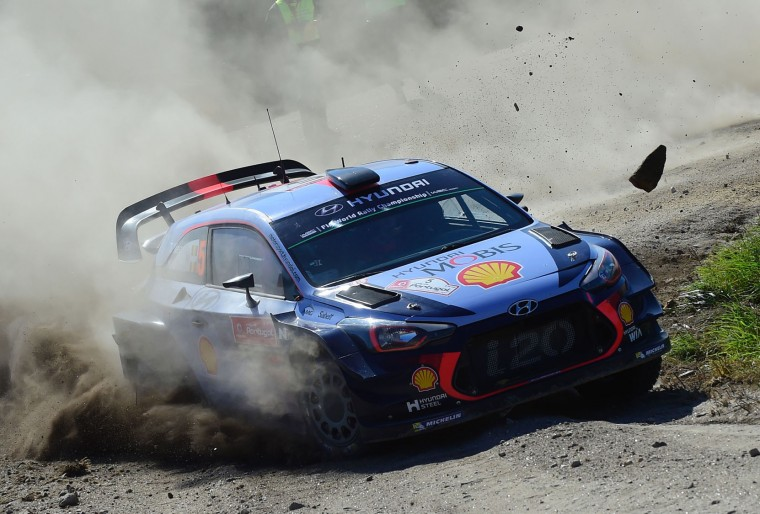 Belgian driver and co-driver, Thierry Neuville and Nicolas Gilsoul, steer their Hyundai i20 Coupe in Caminha, northern Portugal, on May 19, 2017, during the first stage on the second day of the Portugal WRC rally. (Miguel Riopa/AFP/Getty Images)