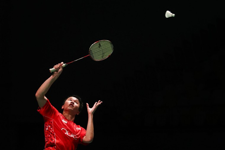 Ryan Ng Zin Rei Ryan of Singapore hits a return during the men's singles Sudirman Cup match against Vietnam's Nguyen Tien Minh at the Gold Coast Sports Centre on May 26, 2017. (Patrick Hamilton/AFP/Getty Images)