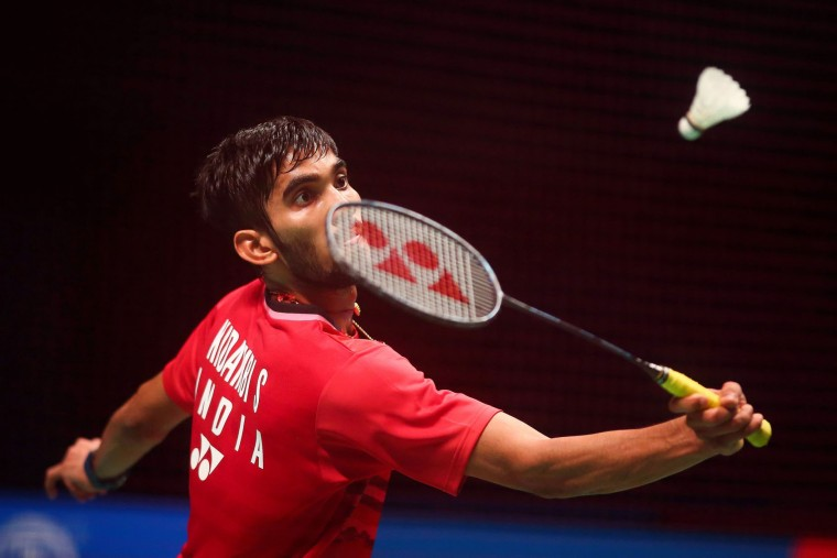 India's Srikanth Kidambi hits a shot during his men's singles Sudirman Cup badminton match against Chen Long of China at the Gold Coast Sports Centre on May 26, 2017. (Patrick Hamilton/AFP/Getty Images)
