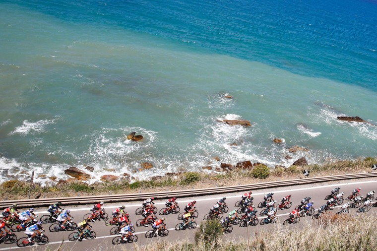 The peloton rides along the sea during the 4th stage of the 100th Giro d'Italia, Tour of Italy, cycling race from Cefalu to Etna volcano, on May 9, 2017 in Sicily. (Luk Benies/AFP/Getty Images)