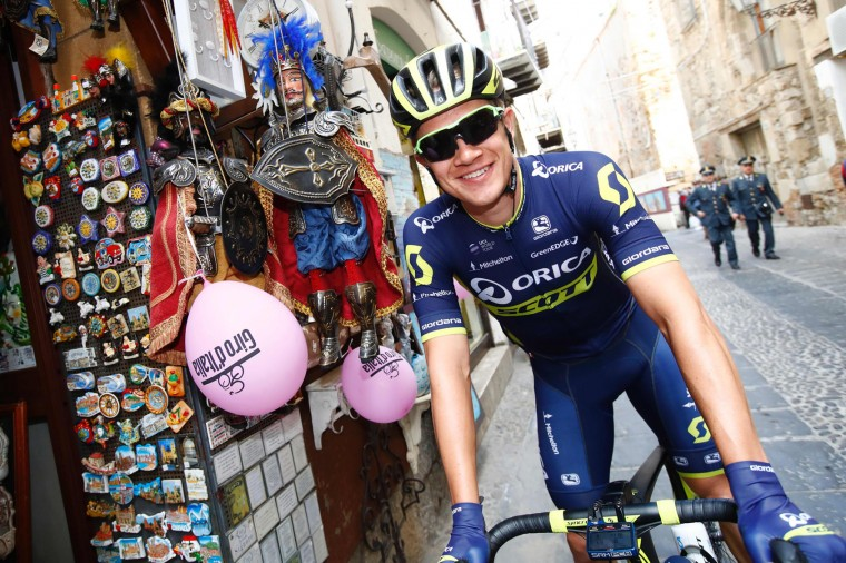 Denmark's Christopher Juul-Jensen of team Orica rides to the start of the 4th stage of the 100th Giro d'Italia, Tour of Italy, cycling race from Cefalu to Etna volcano, on May 9, 2017 in Sicily. (Luk Benies/AFP/Getty Images)
