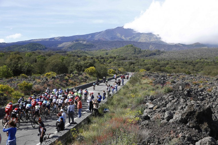 Riders climb in direction of the Mount Etna during the 4th stage of the 100th Giro d'Italia, Tour of Italy, cycling race from Cefalu to Etna volcano, on May 9, 2017 in Sicily. Slovenian Jan Polanc of team UAE conquered the prestigious Giro d'Italia fourth stage to Mount Etna today as Luxembourg's Bob Jungels took the race leader's pink jersey. (Luk Benies/AFP/Getty Images)