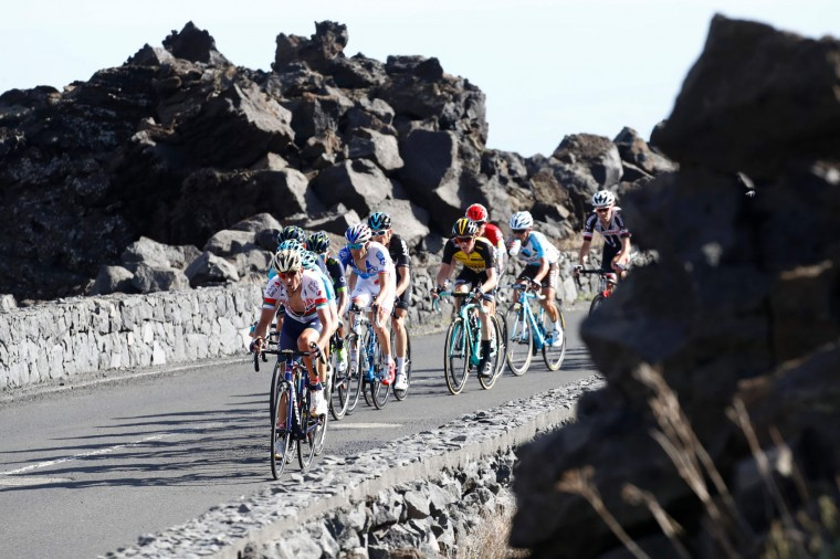 Riders compete during the 4th stage of the 100th Giro d'Italia, Tour of Italy, cycling race from Cefalu to Etna volcano, on May 9, 2017 in Sicily. Slovenian Jan Polanc of team UAE conquered the prestigious Giro d'Italia fourth stage to Mount Etna today as Luxembourg's Bob Jungels took the race leader's pink jersey. (Luk Benies/AFP/Getty Images)