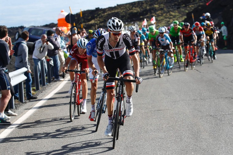 Netherlands' Tom Dumoulin of team Sunweb climbs the Mount Etna during the 4th stage of the 100th Giro d'Italia, Tour of Italy, cycling race from Cefalu to Etna volcano, on May 9, 2017 in Sicily. (Luk Benies/AFP/Getty Images)