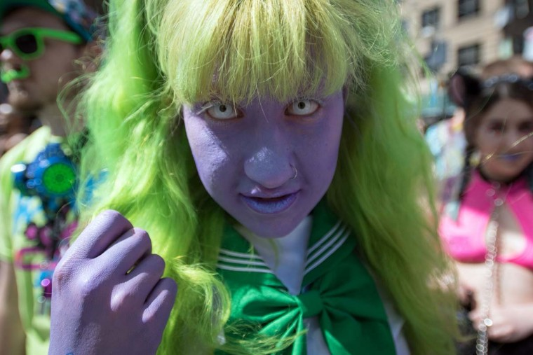 Charlotte Andersen poses for a photo during the 18th annual How Weird Street Faire in San Francisco, California on May 07, 2017. Several city blocks filled with thousands of people as they partied and danced in costume to electronic music and interacted with street performers and artists. (JOSH EDELSON/AFP/Getty Images)