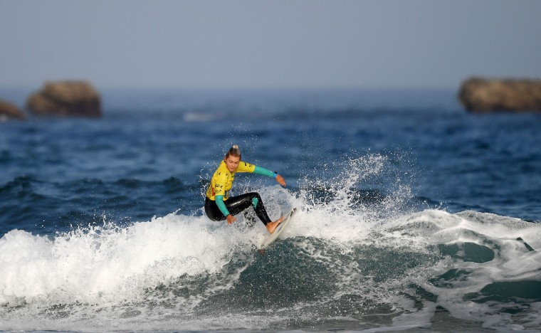 Costa Rica's Leilani McGonagle competes the semi-final of the 2017 ISA World Surfing Games on May 22, 2027 in Biarritz, southwestern France. France's Pauline Ado scored the best finish of the final on the Grande Plage Beach, ahead of France's Johanne Defay and Costa Rican Leilani McGonagle. (Franck Fife/AFP/Getty Images)