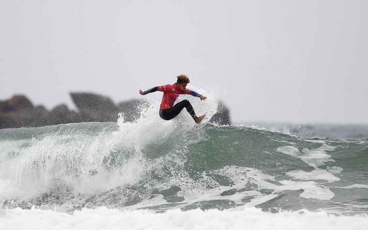 South Africa's Benjamin Brandon competes in the heats 24 - Round 1 on May 23, 2017 in Biarritz, southwestern France, during the 2017 ISA World Surfing Games. (Franck Fife/AFP/Getty Images)