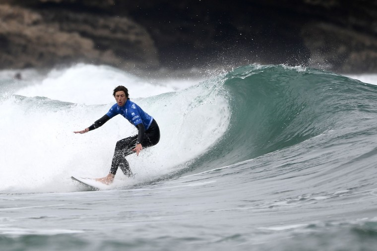 Wales' Robert Webster Blythe competes in the heats 31 - Round 1 on May 23, 2017 in Biarritz, southwestern France, during the 2017 ISA World Surfing Games. (Franck Fife/AFP/Getty Images)