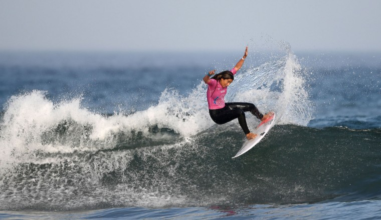 Portugal's Teresa Bonvalot competes during the semi-finals of the 2017 ISA World Surfing Games on May 22, 2027 in Biarritz, southwestern France. France's Pauline Ado scored the best finish of the final on the Grande Plage Beach, ahead of France's Johanne Defay and Costa Rican Leilani McGonagle. (Franck Fife/AFP/Getty Images)