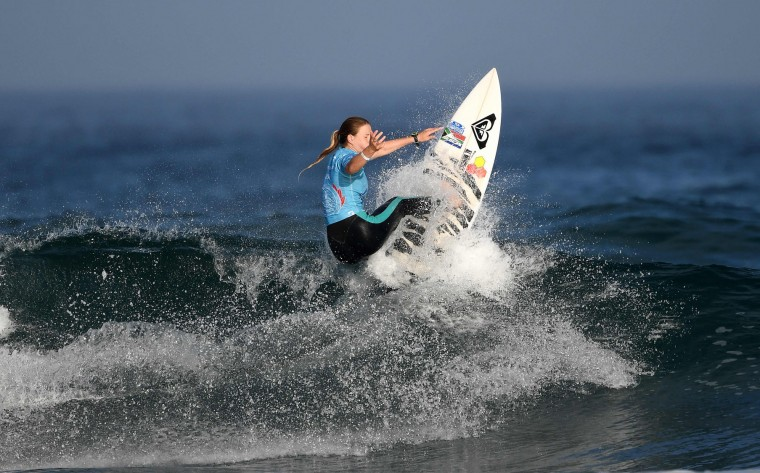 South Africa's Bianca Buitendag competes the finals of the 2017 ISA World Surfing Games on May 22, 2027 in Biarritz, southwestern France. France's Pauline Ado scored the best finish of the final on the Grande Plage Beach, ahead of France's Johanne Defay and Costa Rican Leilani McGonagle. (Franck Fife/AFP/Getty Images)