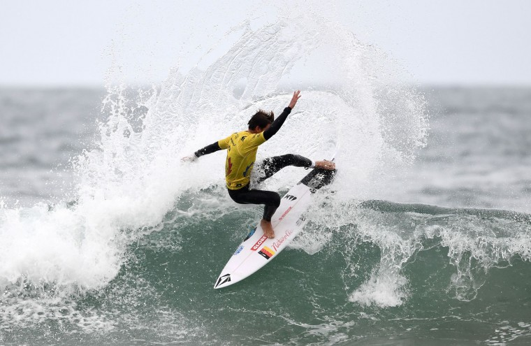 Germany's Leon Glatzer competes in the heats 27 - Round 1 on May 23, 2017 in Biarritz, southwestern France, during the 2017 ISA World Surfing Games. (Franck Fife/AFP/Getty Images)