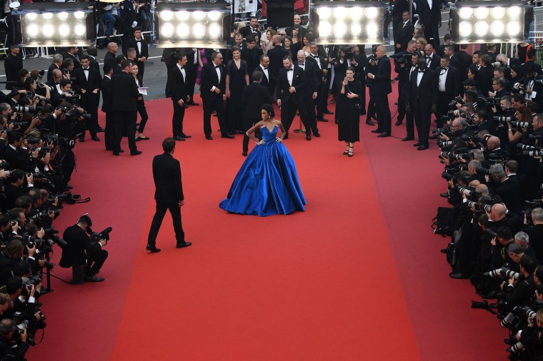 Canadian model Winnie Harlow poses as she arrives on May 18, 2017 for the screening of the film 'Loveless' (Nelyubov) at the 70th edition of the Cannes Film Festival in Cannes, southern France. (Antonin Thuillier/AFP/Getty Images)