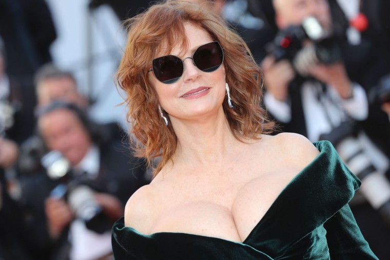 US actress Susan Sarandon poses as she arrives on May 17, 2017 for the screening of the film 'Ismael's Ghosts' (Les Fantomes d'Ismael) during the opening ceremony of the 70th edition of the Cannes Film Festival in Cannes, southern France. (Valery Hache/AFP/Getty Images)