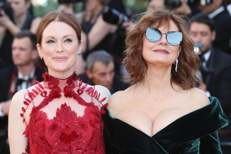 US actress Julianne Moore (L) and US actress Susan Sarandon pose as they arrive on May 17, 2017 for the screening of the film 'Ismael's Ghosts' (Les Fantomes d'Ismael) during the opening ceremony of the 70th edition of the Cannes Film Festival in Cannes, southern France. (Valery Hache/AFP/Getty Images)