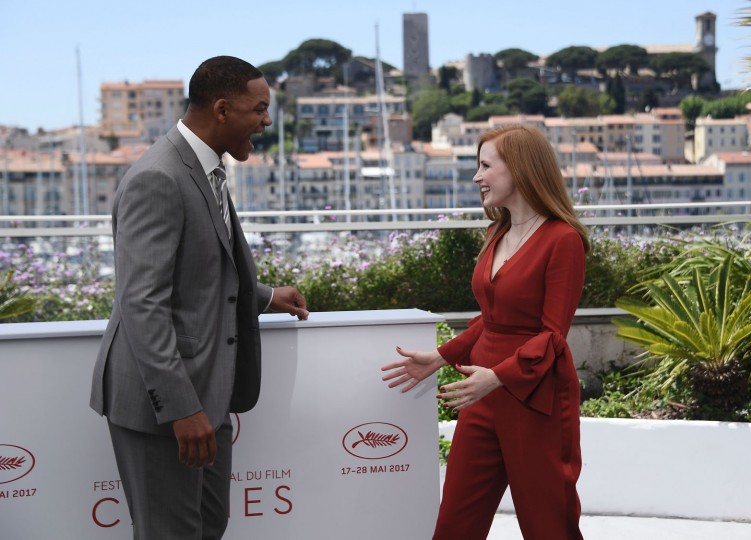 US actor and member of the Feature Film jury Will Smith (L) and US actress and member of the Feature Film jury Jessica Chastain pose on May 17, 2017 during a photocall ahead of the opening ceremony of the 70th edition of the Cannes Film Festival in Cannes, southern France. (Anne-Christine Poujoulat/AFP/Getty Images)