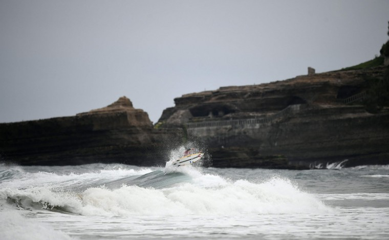 A surfer trains on May 23, 2027 in Biarritz, southwestern France, during the 2017 ISA World Surfing Games. The event runs until May 28. (Franck Fife/AFP/Getty Images)