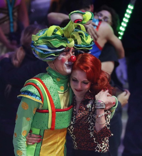 Two performers hug after the final show of the Ringling Bros. and Barnum & Bailey Circus, Sunday, May 21, 2017, in Uniondale, N.Y. (AP Photo/Julie Jacobson)