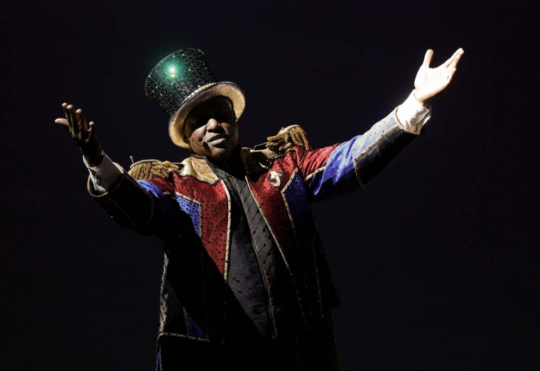 Ringmaster Johnathan Lee Iverson performs during the final show of the Ringling Bros. and Barnum & Bailey Circus, Sunday, May 21, 2017, in Uniondale, N.Y. (AP Photo/Julie Jacobson)